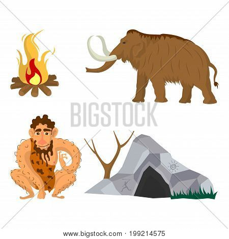 Stone age and Neanderthal man household living. Vector flat icons set of caveman dwelling cave, ice-age mammoth and primitive fire place