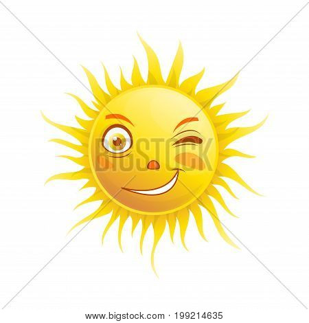Sun smile or summer cartoon emoticon and emoji sunny face expression. Vector isolated icon of shining winking eye character