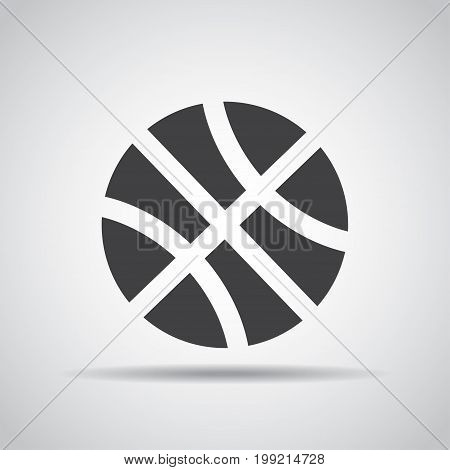 Basketball icon with shadow on a gray background. Vector illustration