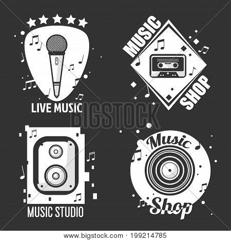 Vector illustration of different live music, music shop and studio logos isolated on black.