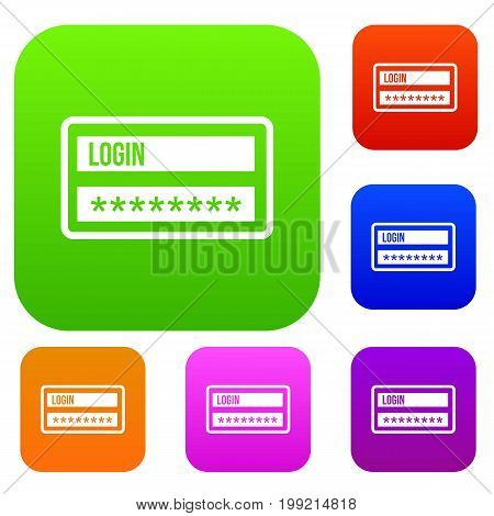 Login and password set icon in different colors isolated vector illustration. Premium collection