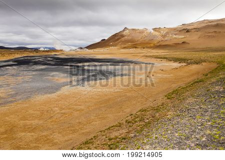Krafla area starts close to Lake Myvatn Natural geothermal activity provides energy to the whole country