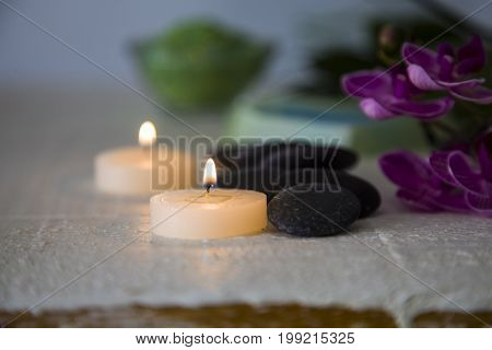 Spa Treatments On Wooden Table