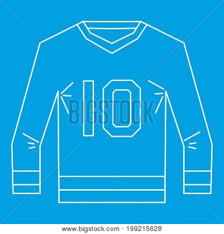 Sports shirt with the number 10 icon blue outline style isolated vector illustration. Thin line sign