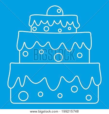 Celebratory cake icon blue outline style isolated vector illustration. Thin line sign