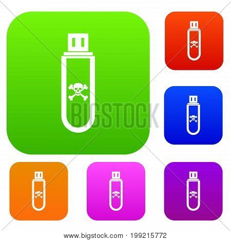 Infected USB flash drive set icon in different colors isolated vector illustration. Premium collection