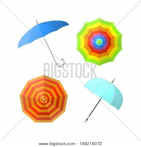 Set of colorful umbrellas from different angles vector illustrations isolated on white. Protective accessory at rain, object with handle protecting from drops in rainy weather and sun during hot