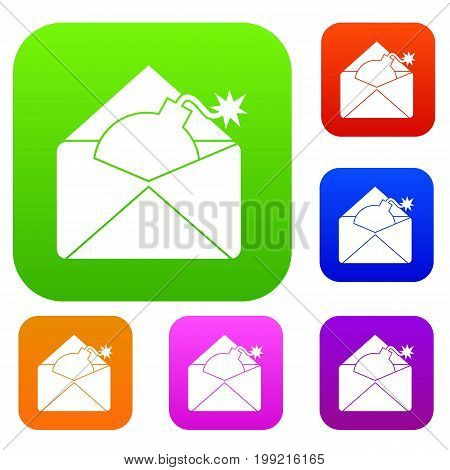 Envelope with bomb set icon in different colors isolated vector illustration. Premium collection