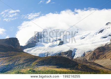 athabasca glacier with sun columbia icefield alberta canada
