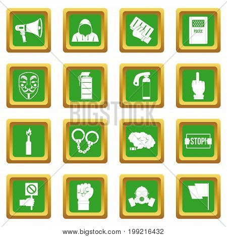 Protest icons set in green color isolated vector illustration for web and any design