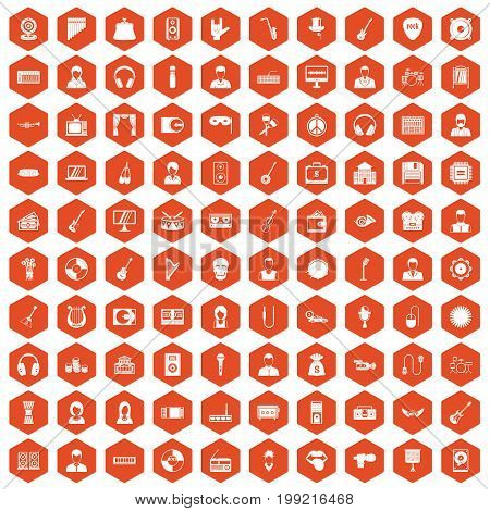 100 music icons set in orange hexagon isolated vector illustration