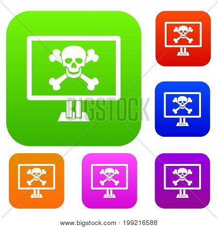 Computer monitor with a skull and bones set icon in different colors isolated vector illustration. Premium collection