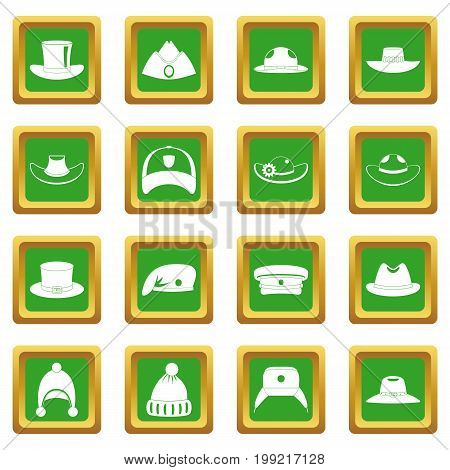Headdress hat icons set in green color isolated vector illustration for web and any design