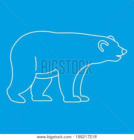 Bear icon blue outline style isolated vector illustration. Thin line sign