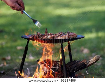camping food - barbeque outdoor in summer camp