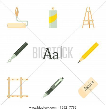 Artist equipment icons set. Cartoon set of 9 artist equipment vector icons for web isolated on white background