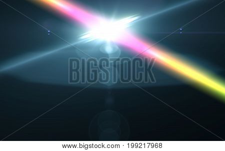 Lens flare light over black background. easy to add overlay or screen filter over photos.Rainbow cross lens flare.