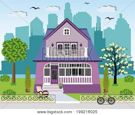 Cute bright private house facade design with spacious yard. Stylish graphic set house, rocking chair, green yard, trees, fence, bicycle, flowers and city background. Vector illustration.