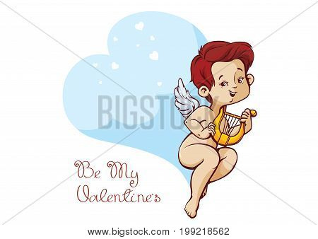 Character design of cupid plaing music on harp to flying heart with a butterfly wings. Lineart and coloring drawing. With Valentine s day greeting fun message. Handwritten letteriing.
