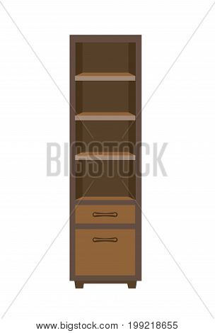 Vector illustration of dark wooden closet with shelves isolated on white.