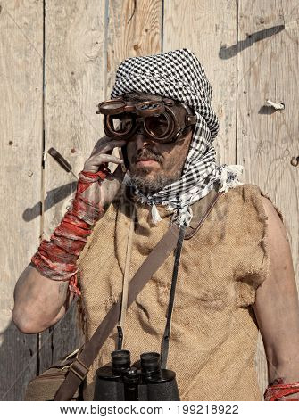 Vintage steampunk man wearing glasses