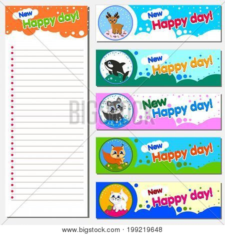Calendar Planner 2018 Design Template with Replaceable banner. Illustration of cheerful animals. Children s theme. Vector illustration