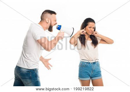 'man Screaming On Woman With Help Of Megaphone, Isolated On White