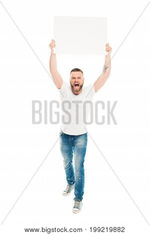 'aggressive Bearded Man Holding Blank Banner Above Head, Isolated On White