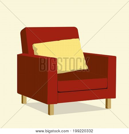 Red luxury chair with yellow pillow vector.Luxury sofa in living room.