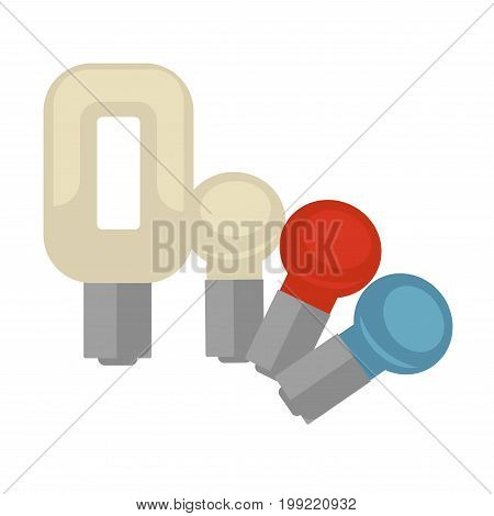 Vector illustration of different shaped and colored lightbulbs isolated on white.