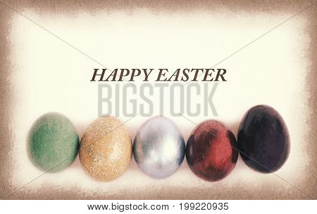 Vintage paper texture Colorful easter eggs with sample text.
