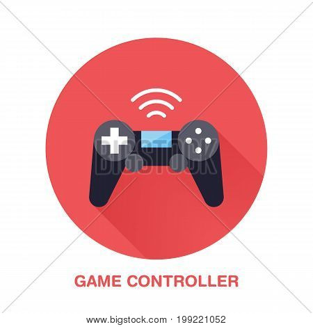 Game controller flat style icon. Wireless technology, video game device sign. Vector illustration of communication equipment for electronics store.