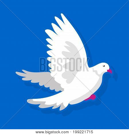 Vector illustration of white bird flying on blue background.
