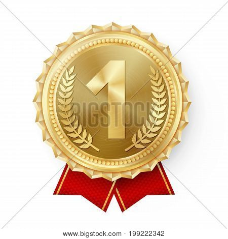 Gold Medal Vector. Golden 1st Place. Ceremony Winner Honor Prize. Isolated On White. Olive Branch. Realistic illustration.