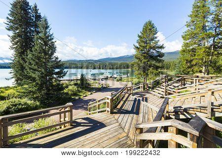 maligne Lake mooring view  banff  national park west canada british columbia