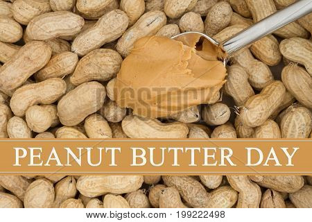 Celebrating peanut butter day Peanut butter in a spoon with raw peanuts in shells background with text Peanut Butter Day