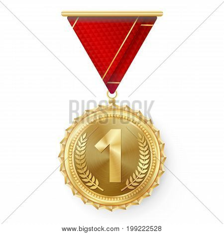 Gold Medal Vector. Round Championship Label. Competition Challenge Award. Red Ribbon. Isolated On White. Realistic illustration.