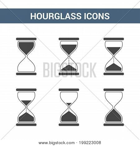 Set of hourglass icons with different time, vector eps10 illustration