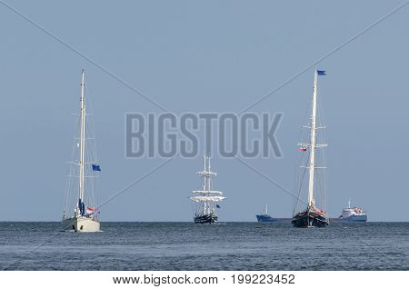 SAILING VESSEL - Three sailing ships on the sea