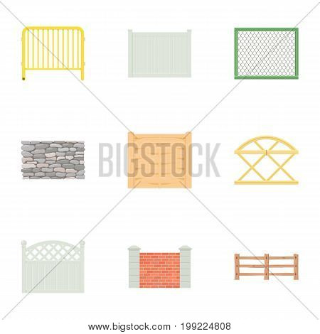 Urban fence icons set. Cartoon set of 9 urban fence vector icons for web isolated on white background