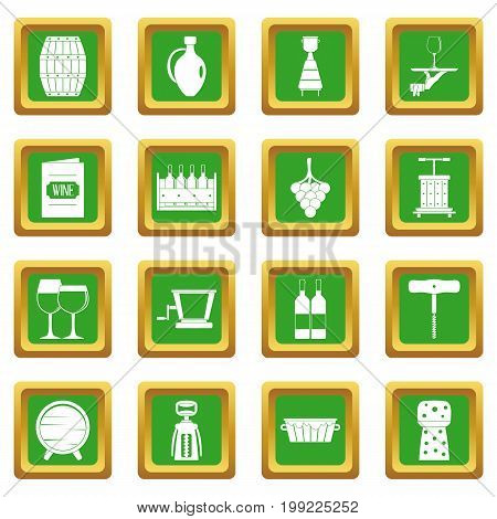 Wine icons set in green color isolated vector illustration for web and any design