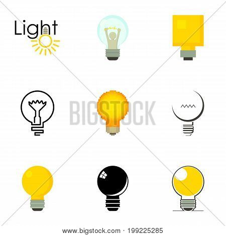 Lightbulb logotype icons set. Cartoon set of 9 lightbulb logotype vector icons for web isolated on white background