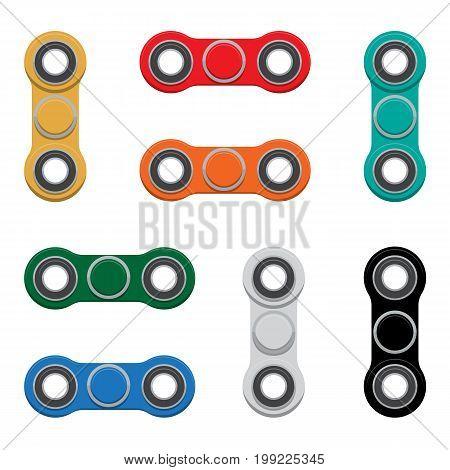 Set of -Spinner. New popular anti-stress toy. Vector Illustration. EPS10