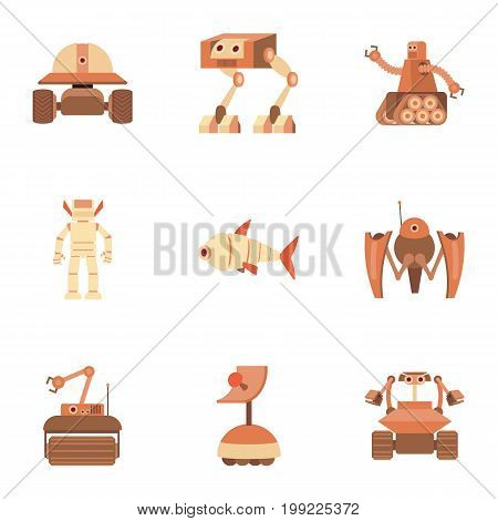 Android icons set. Cartoon set of 9 android vector icons for web isolated on white background