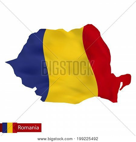 Romania Map With Waving Flag Of Romania.