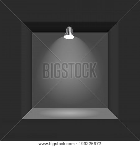 Exhibition Concept, Black Empty Box, Frame with Illumination. Template for Your Content. 3d Vector Illustration EPS10