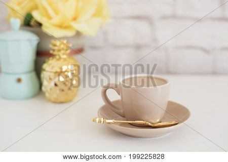 Feminine Workplace Concept. Freelance Fashion Comfortable Femininity Workspace With Coffee, Flowers,