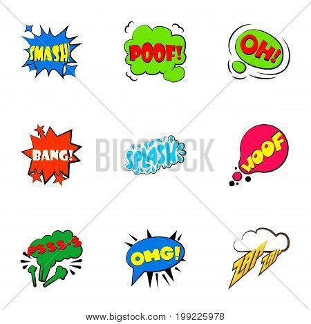 Simple abbreviations speech bubbles icons set. Cartoon set of 9 simple abbreviations speech bubbles vector icons for web isolated on white background