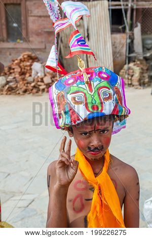 KathmanduNepal - August 82017:Gai Jatra is a carnival of dancing singing mirth and laughter. The festival of cow is celebrated mainly in the Kathmandu Valley to commemorate the death of loved ones. As part of the festival family members of the deceased of