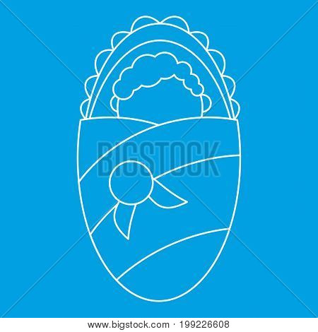 Newborn baby icon blue outline style isolated vector illustration. Thin line sign